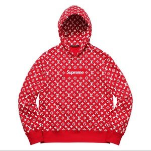 SUPREME Red And White Fashion Pullover Hoodie